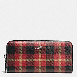 COACH F55933 Accordion Zip Wallet In Riley Plaid Coated Canvas QB/TRUE RED MULTI