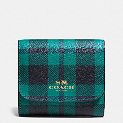 COACH F55934 Small Wallet In Riley Plaid Print Coated Canvas IMITATION GOLD/ATLANTIC MULTI