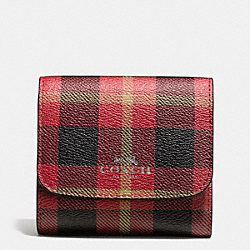 COACH F55934 Small Wallet In Riley Plaid Print Coated Canvas QB/TRUE RED MULTI