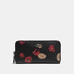 COACH F55950 Accordion Zip Wallet In Halftone Floral Print Coated Canvas ANTIQUE NICKEL/BLACK MULTI