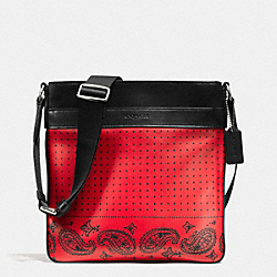 CHARLES CROSSBODY IN PRINTED SPORT CALF LEATHER - f55961 - RED/BLACK BANDANA