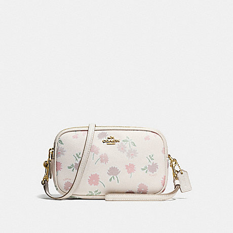 COACH f55983 CROSSBODY CLUTCH IN PEBBLE LEATHER WITH DAISY FIELD PRINT LIGHT GOLD/DAISY FIELD BEECHWOOD MULTI