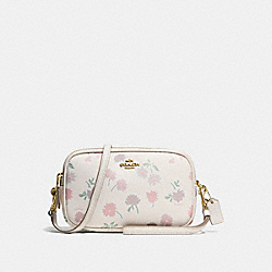 CROSSBODY CLUTCH IN PEBBLE LEATHER WITH DAISY FIELD PRINT - f55983 - LIGHT GOLD/DAISY FIELD BEECHWOOD MULTI