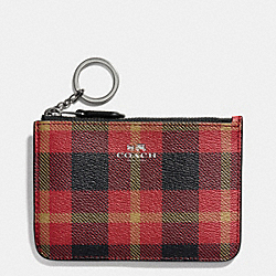 COACH F55990 Key Pouch With Gusset In Riley Plaid Coated Canvas QB/TRUE RED MULTI