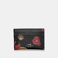 COACH F56000 Flat Card Case In Halftone Floral Print Coated Canvas ANTIQUE NICKEL/BLACK MULTI