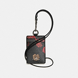 COACH F56003 Lanyard Id In Halftone Floral Print Coated Canvas ANTIQUE NICKEL/BLACK MULTI