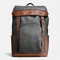 HENRY BACKPACK IN PEBBLE LEATHER - f56013 - GRAPHITE/DARK SADDLE