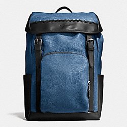 HENRY BACKPACK IN PEBBLE LEATHER - f56013 - INDIGO/BLACK