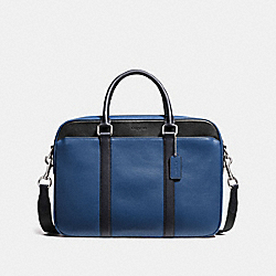 PERRY SLIM BRIEF IN COLORBLOCK LEATHER - f56018 - INDIGO/MIDNIGHT/BLACK
