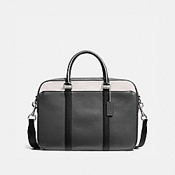 COACH PERRY SLIM BRIEF IN COLORBLOCK LEATHER - GRAPHITE/BLACK/CHALK - F56018