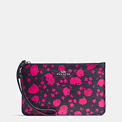COACH F56025 Small Wristlet In Prairie Calico Floral Print Canvas SILVER/MIDNIGHT PINK RUBY