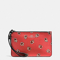 COACH F56026 Small Wristlet In Sienna Rose Print Canvas SILVER/WATERMELON