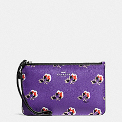 COACH F56027 Small Wristlet In Bramble Rose Print Canvas SILVER/PURPLE