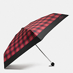 COACH F56050 - SIGNATURE PLAID MINI UMBRELLA SILVER/TRUE RED MULTI