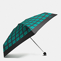 COACH F56050 - SIGNATURE PLAID MINI UMBRELLA SILVER/ATLANTIC MULTI