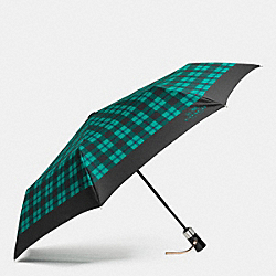 COACH SIGNATURE PLAID UMBRELLA - SILVER/ATLANTIC MULTI - F56051