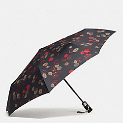 COACH VINTAGE ROSE UMBRELLA - SILVER/BLACK MULTI - F56053