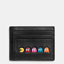 COACH F56055 Pac Man Card Case In Calf Leather BLACK