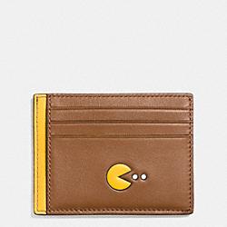 COACH F56055 Pac Man Card Case In Calf Leather SADDLE