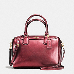 COACH F56125 Mini Bennett Satchel In Metallic Leather IMITATION GOLD/METALLIC CHERRY