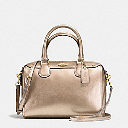 COACH F56125 Mini Bennett Satchel In Metallic Leather IMITATION GOLD/PLATINUM