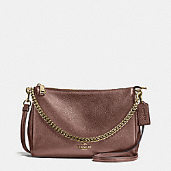 CARRIE CROSSBODY IN METALLIC LEATHER - f56126 - IMITATION GOLD/BRONZE