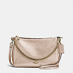 CARRIE CROSSBODY IN METALLIC LEATHER - f56126 - IMITATION GOLD/PLATINUM