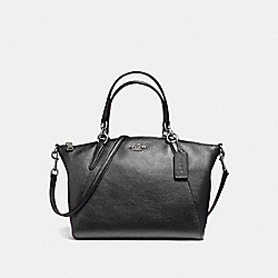 SMALL KELSEY SATCHEL IN METALLIC PEBBLE LEATHER - f56127 - SILVER/GUNMETAL