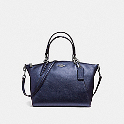 SMALL KELSEY SATCHEL IN METALLIC PEBBLE LEATHER - f56127 - SILVER/METALLIC NAVY