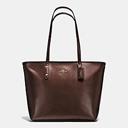 CITY ZIP TOTE IN METALLIC CROSSGRAIN LEATHER - f56129 - IMITATION GOLD/BRONZE