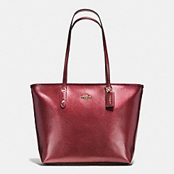 CITY ZIP TOTE IN METALLIC CROSSGRAIN LEATHER - f56129 - IMITATION GOLD/METALLIC CHERRY
