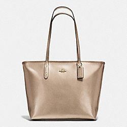 CITY ZIP TOTE IN METALLIC CROSSGRAIN LEATHER - f56129 - IMITATION GOLD/PLATINUM