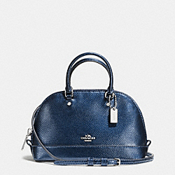 MICRO MINI SIERRA SATCHEL IN METALLIC CROSSGRAIN LEATHER - f56131 - SILVER/METALLIC MIDNIGHT