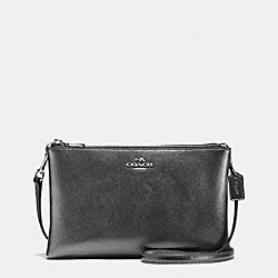 LYLA CROSSBODY IN METALLIC CROSSGRAIN LEATHER - f56132 - SILVER/GUNMETAL