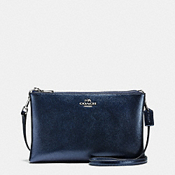 LYLA CROSSBODY IN METALLIC CROSSGRAIN LEATHER - f56132 - SILVER/METALLIC MIDNIGHT