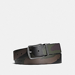 COACH F56160 Wide Harness Cut-to-size Reversible Camo Coated Canvas Belt GREEN CAMO