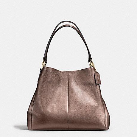 Coach F56196 Phoebe Shoulder Bag In Metallic Leather Imitation Gold Bronze