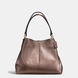 PHOEBE SHOULDER BAG IN METALLIC LEATHER - f56196 - IMITATION GOLD/BRONZE