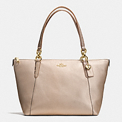 AVA TOTE IN METALLIC LEATHER WITH EXOTIC TRIM - f56198 - IMITATION GOLD/PLATINUM