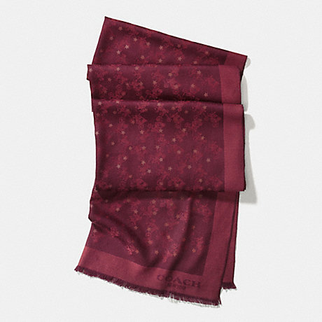 COACH f56200 HORSE AND CARRIAGE FOIL STAR OBLONG SCARF BURGUNDY
