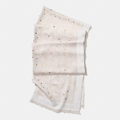 COACH f56200 HORSE AND CARRIAGE FOIL STAR OBLONG SCARF CHALK