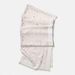 HORSE AND CARRIAGE FOIL STAR OBLONG SCARF - f56200 - CHALK