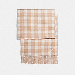 COACH F56204 Reversible Signature Plaid Double Face Muffler CARAMEL