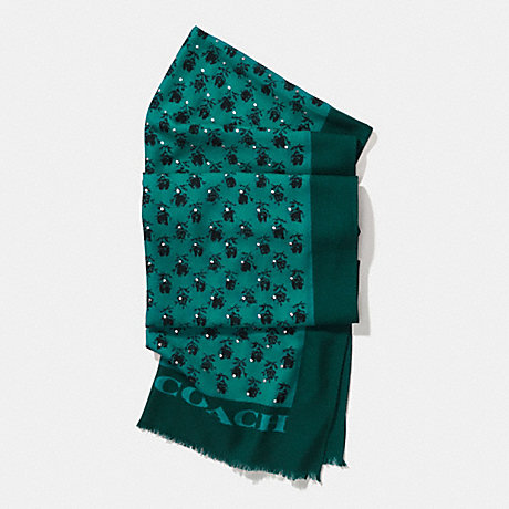 COACH f56207 FLORAL STUDDED OBLONG SCARF ATLANTIC