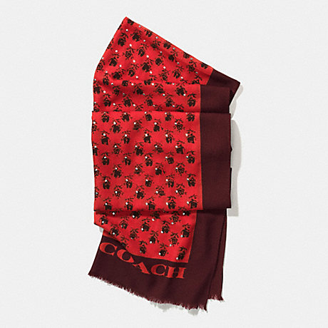 COACH f56207 FLORAL STUDDED OBLONG SCARF WATERMELON