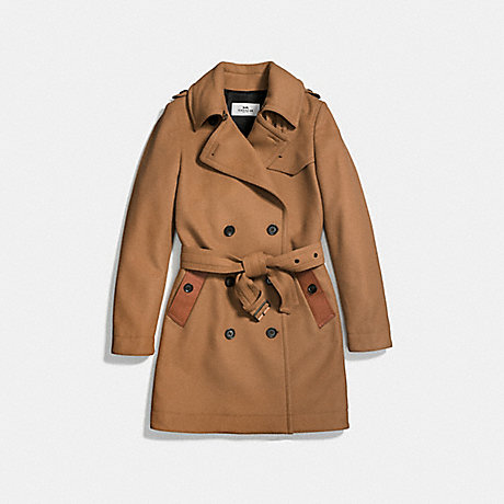 COACH f56214 WOOL TRENCH FAWN