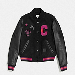 COACH F56216 - ANIMATED BASEBALL JACKET BLACK FUSCHIA