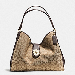CARLYLE SHOULDER BAG IN OUTLINE SIGNATURE - f56221 - IMITATION GOLD/KHAKI/BROWN