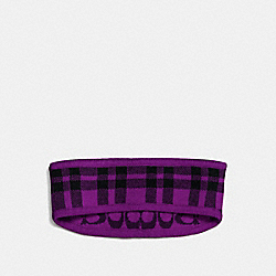 COACH F56232 Reversible Signature Plaid Double Face Headband AUBERGINE
