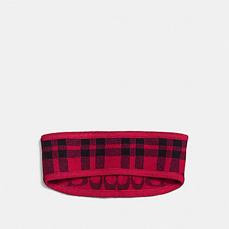 COACH f56232 REVERSIBLE SIGNATURE PLAID DOUBLE FACE HEADBAND TRUE RED